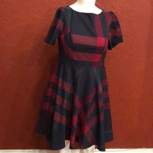 ModCloth Fit And Flare Navy Plaid Dress Size 16